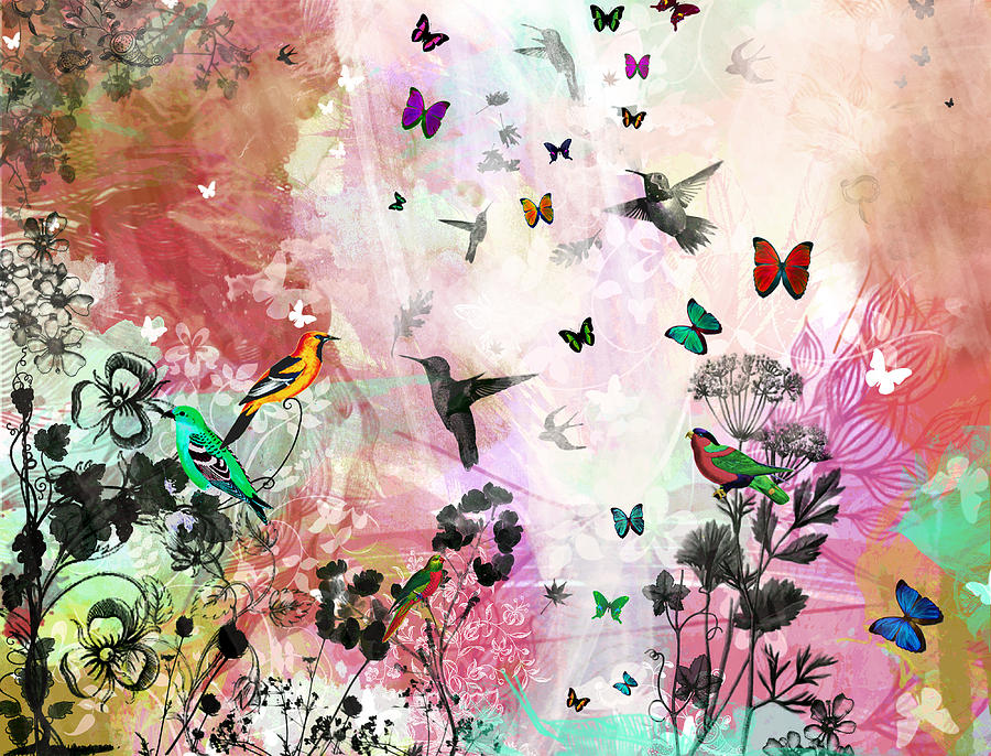 Roses Mixed Media - Enchanting Birds And Butterflies by Carly Ralph
