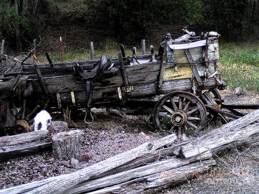 Vintage Digital Art - End Of The Trail Oregon Conestoga Wagon  by Glenna McRae