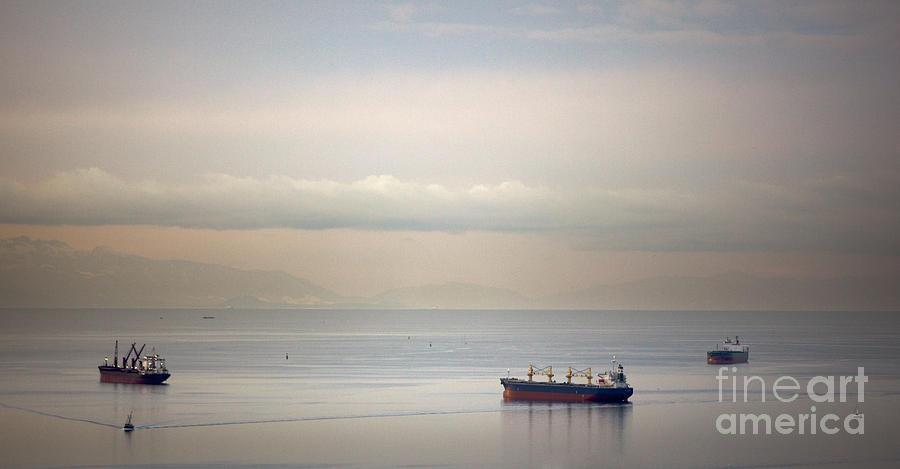 Anchored Photograph - English Bay Cargo Freighters by Ei Katsumata