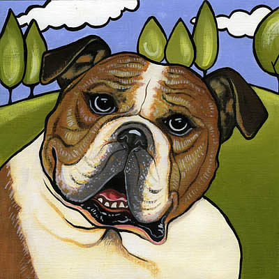 Dog Painting - English Bull Dog by Leanne Wilkes