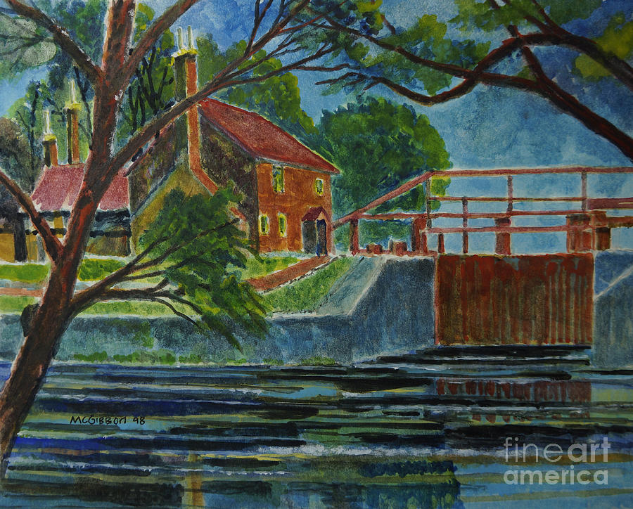 Canal House Painting - English Canal Lock by Donald McGibbon