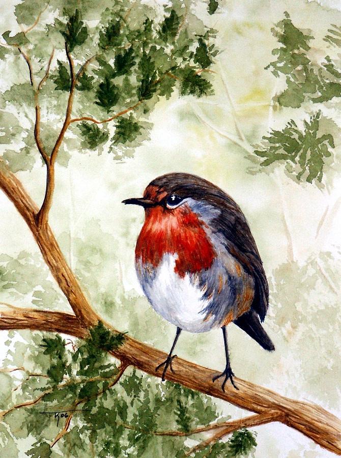 Bird Painting - English Robin by Travis Kelley