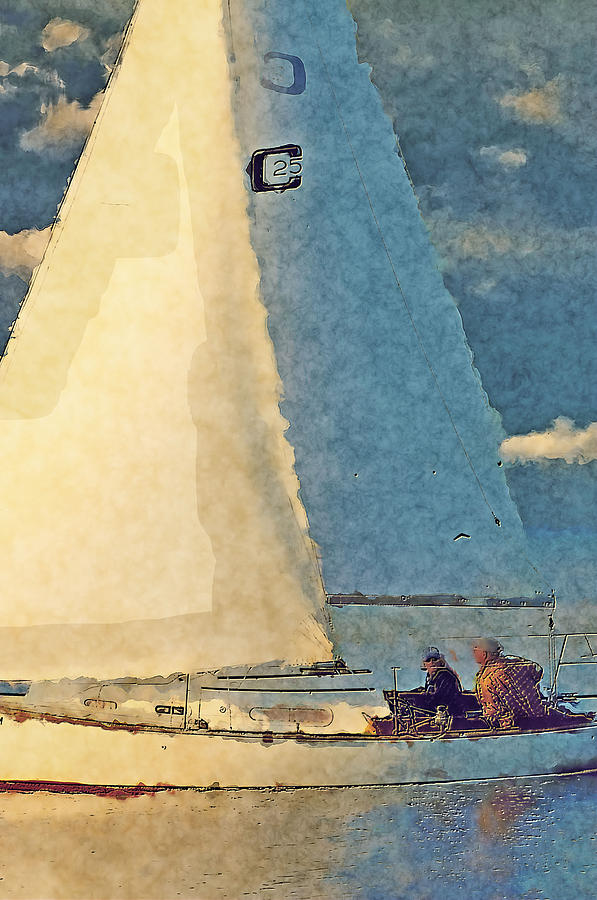 Sailboat Digital Art - Enjoying Life by Dennis Wright aka The Mellow One