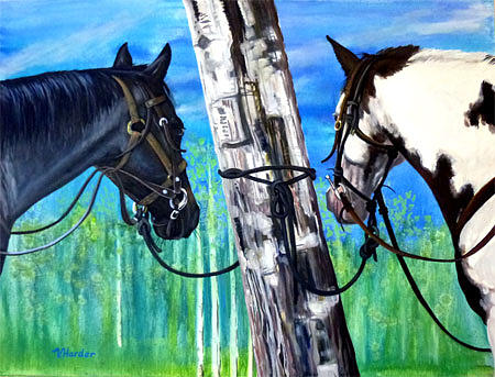 Horses Painting - Enjoying The View by Vivian Harder