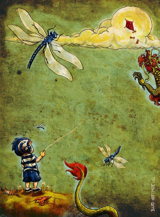 Boy Digital Art - Enter The Dragon by Baird Hoffmire