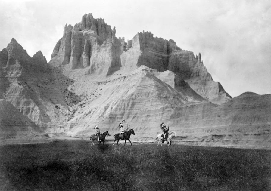 1900s Photograph - Entering The Badlands, Three Sioux by Everett