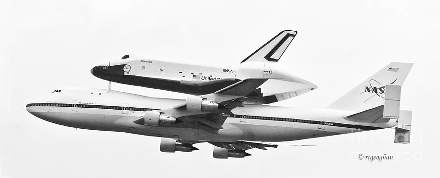 Enterprise Shuttle Photograph - Enterprise Shuttle Nyc -black And White  by Regina Geoghan