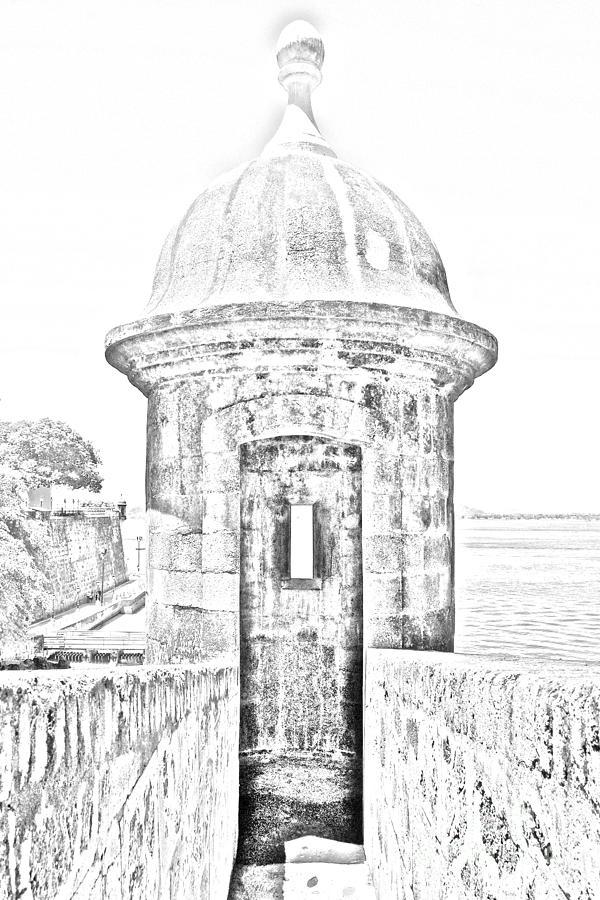 El Morro Digital Art - Entrance To Sentry Tower Castillo San Felipe Del Morro Fortress San Juan Puerto Rico Bw Line Art by Shawn OBrien