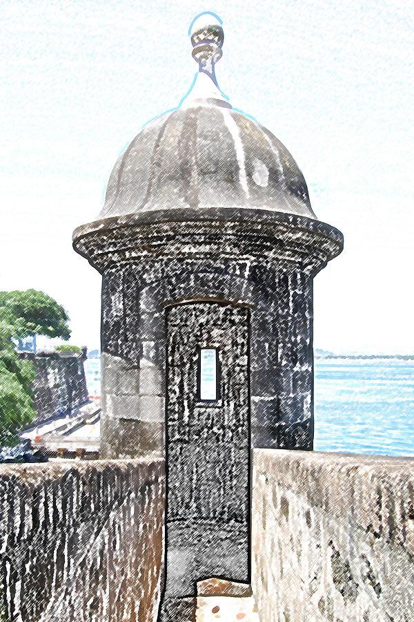 El Morro Digital Art - Entrance To Sentry Tower Castillo San Felipe Del Morro Fortress San Juan Puerto Rico Colored Pencil by Shawn OBrien