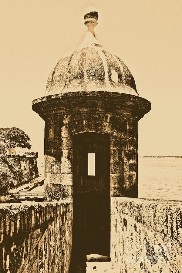 Travelpixpro Puerto Rico Digital Art - Entrance To Sentry Tower Castillo San Felipe Del Morro Fortress San Juan Puerto Rico Rustic by Shawn OBrien