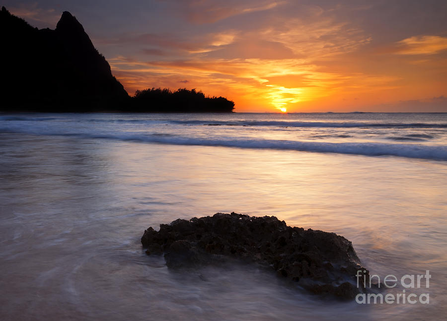 Tunnels Beach Photograph - Enveloped By The Tides by Mike  Dawson