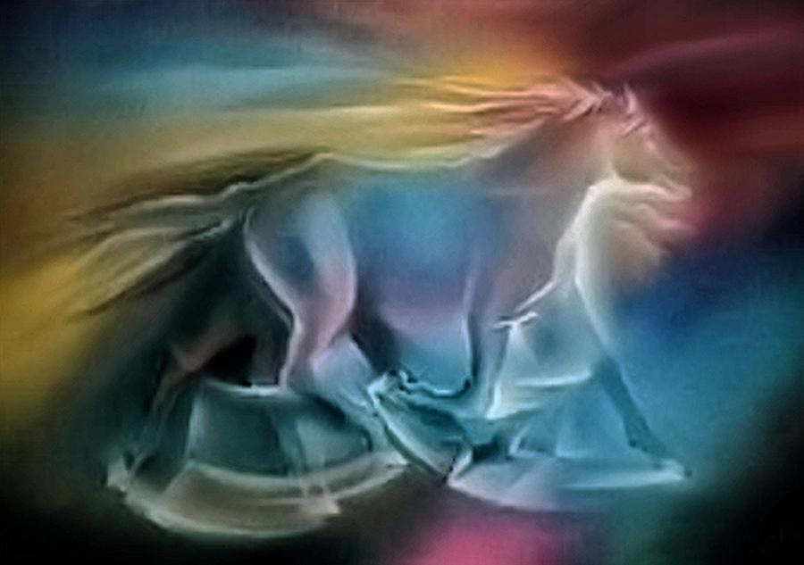 Wild Horse Pastel - Equus Caballuscomp 1984 by Glenn Bautista
