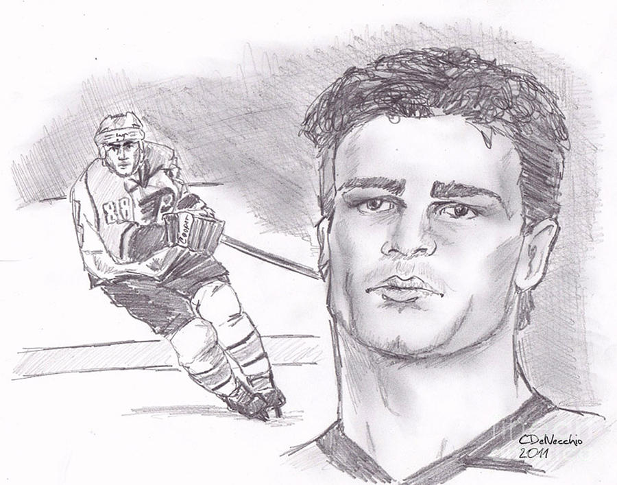 Flyers Drawing - Eric Lindros by Chris  DelVecchio