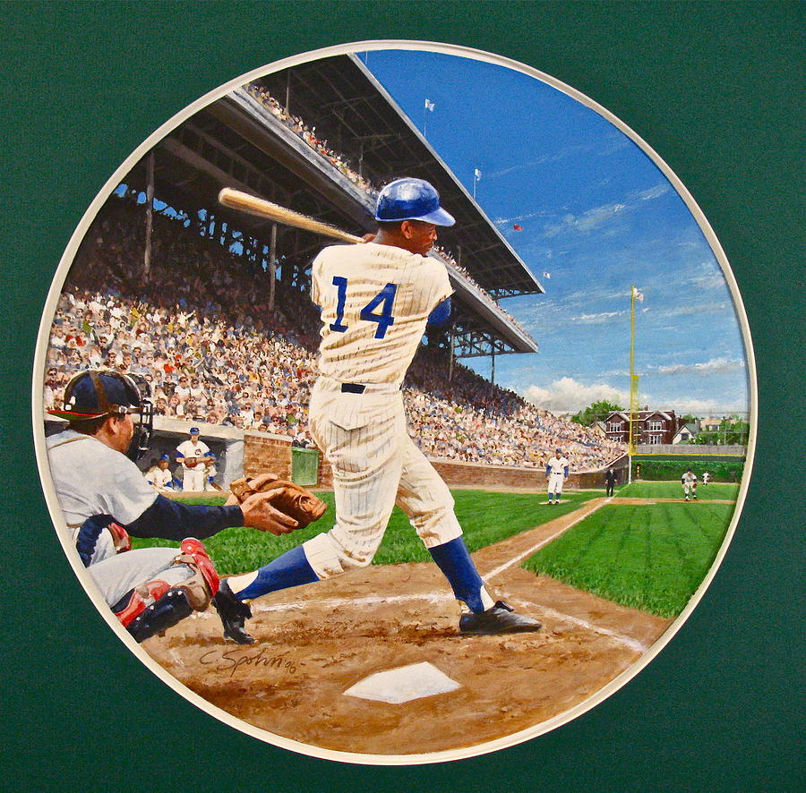 Acrylic Painting Painting - Ernie Banks by Cliff Spohn