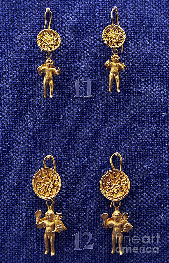 Archeological Photograph - Erotes Earrings by Andonis Katanos