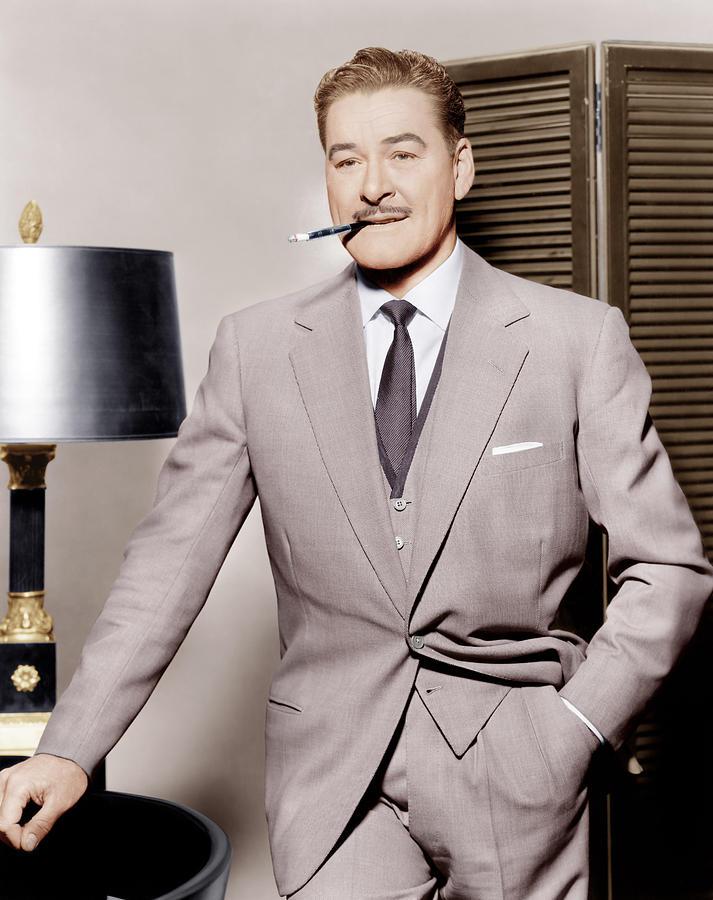 Cigarette Photograph - Errol Flynn, Ca. 1950s by Everett