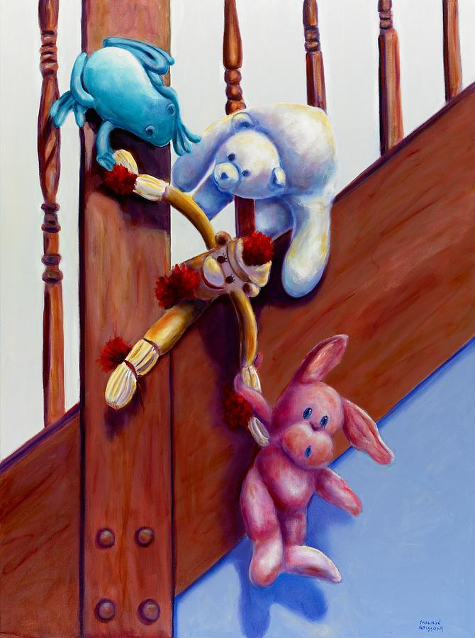 Sock Monkey Painting - Escape by Shannon Grissom