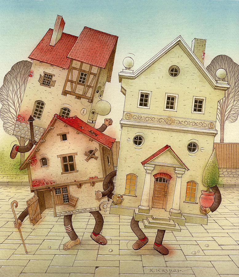 Escaped Houses Painting by Kestutis Kasparavicius