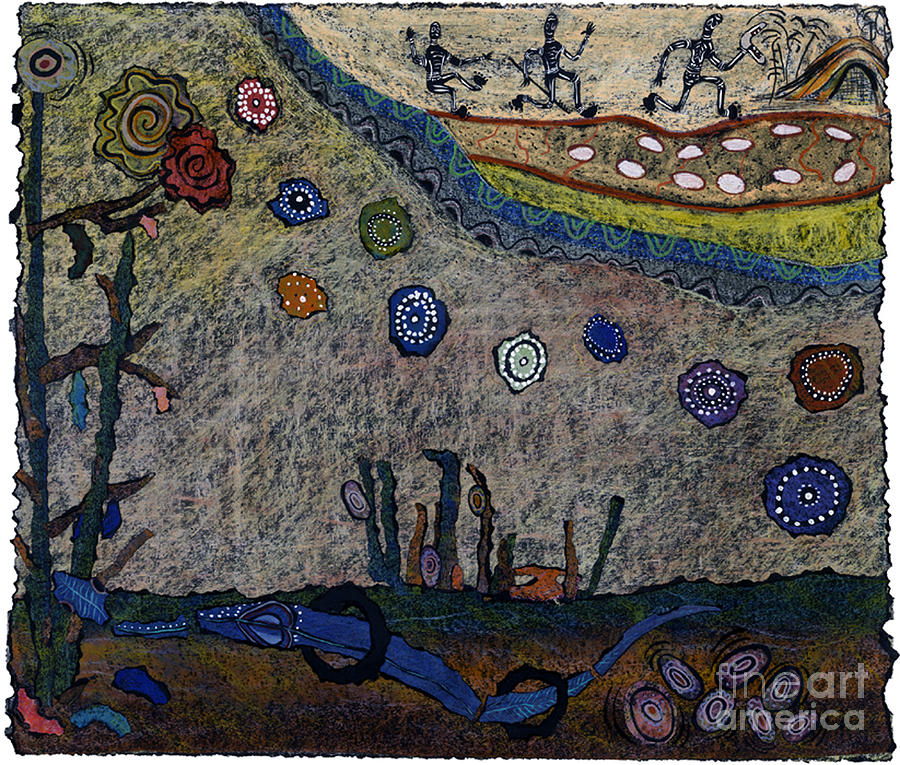 Rainbow Serpent Mixed Media - Escaping Death by Pat Saunders-White
