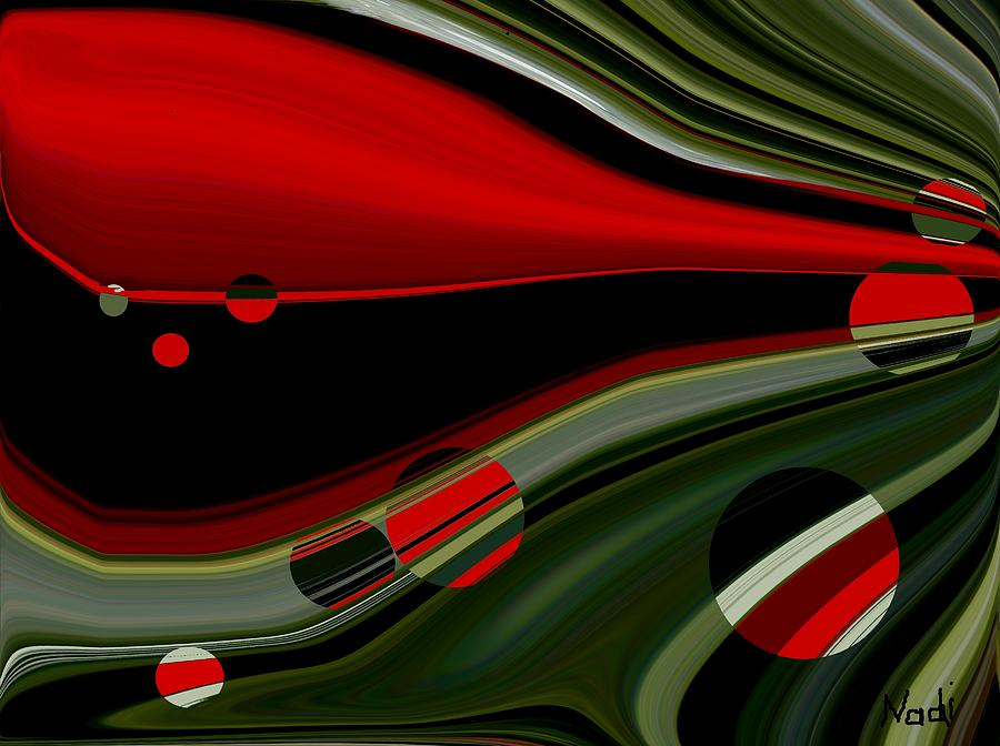 Red Painting - Escaping by Renate Nadi Wesley