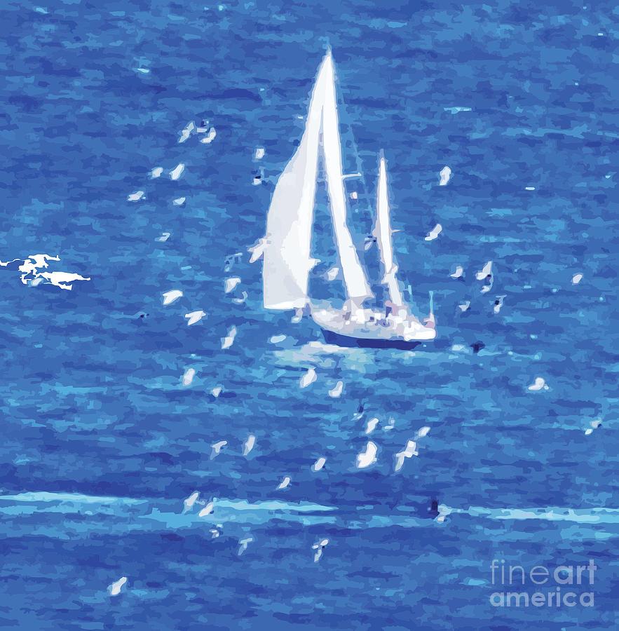 Sailing Digital Art - Escorted By Seagulls by Alfie Borg