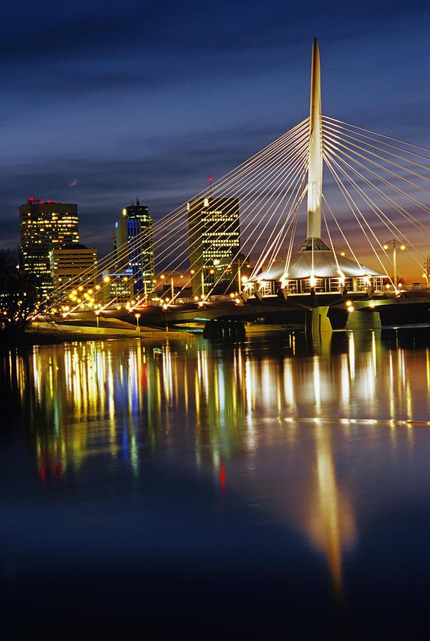 Bridges Photograph - Esplanade Riel Footbridge On Red River by Mike Grandmailson