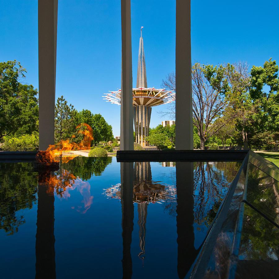 Oral Roberts University Photograph - Eternal Flame Fountain by David Waldo