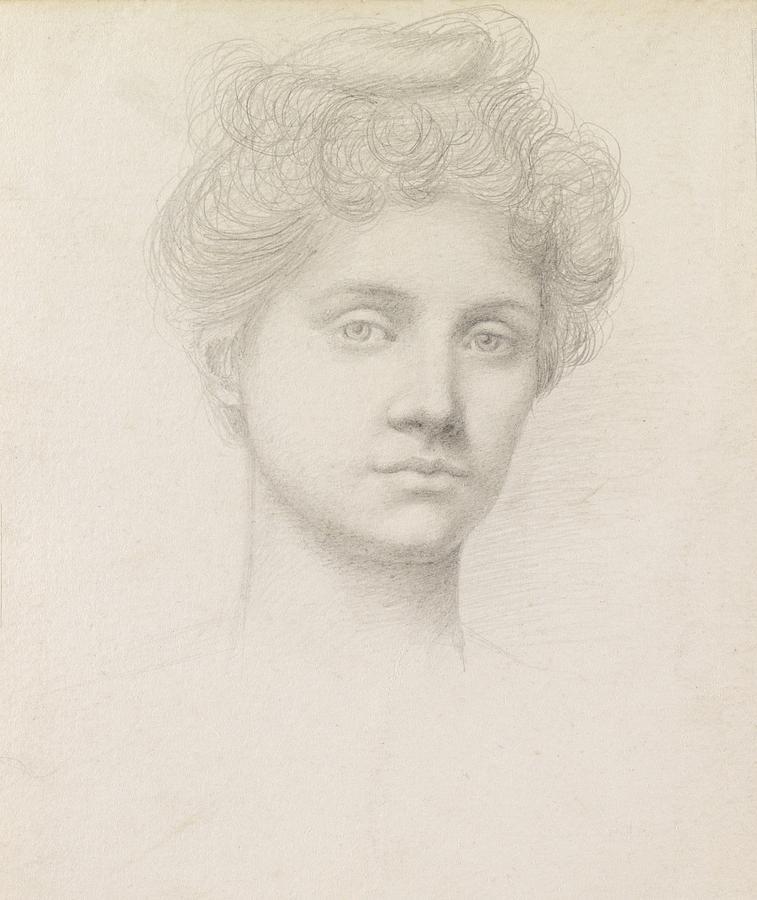 Head; Portrait; Female; Ethel Pickering; Drawing; Sketch; Victorian Drawing - Ethel Pickering by Evelyn De Morgan