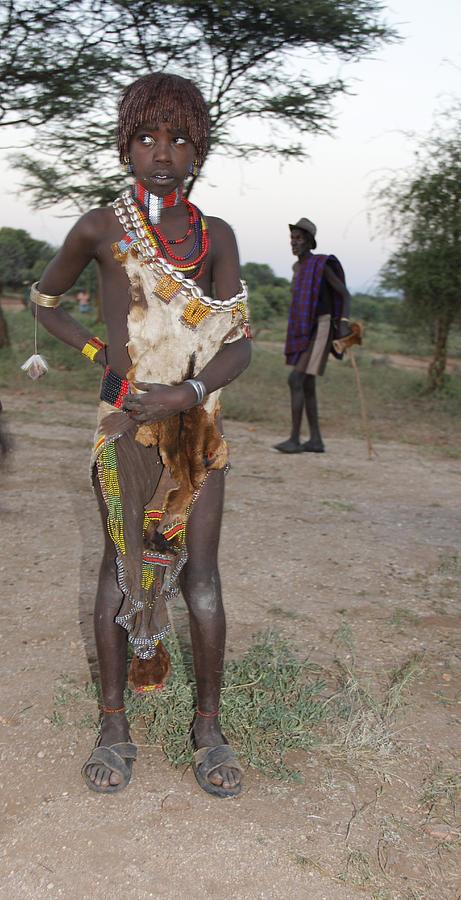 Africa Painting - Ethiopia-south Tribesman Boy No.3 by Robert SORENSEN