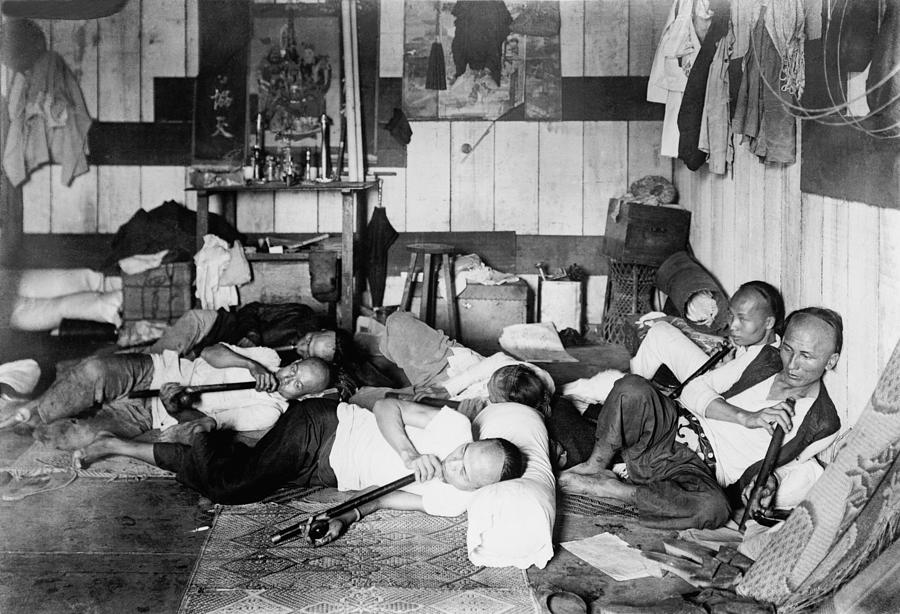 ethnic chinese smoking in an opium den photograph by everett. Black Bedroom Furniture Sets. Home Design Ideas