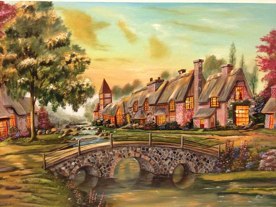 Fine Painting - European Village by Biren Biren