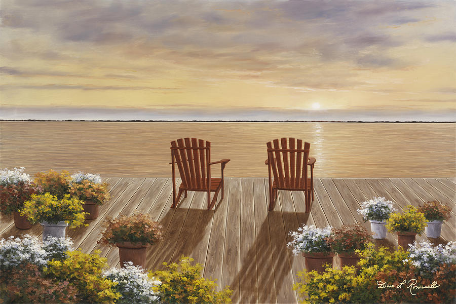 Evening Deck View Painting By Diane Romanello