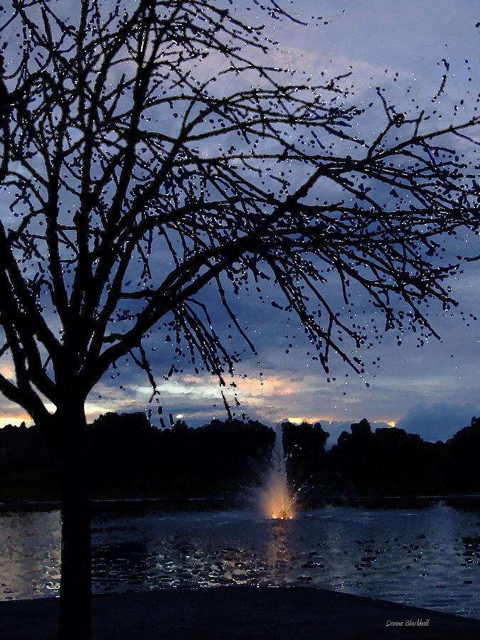 Fountain Digital Art - Evening Falls On Youths Fountain by Donna Blackhall