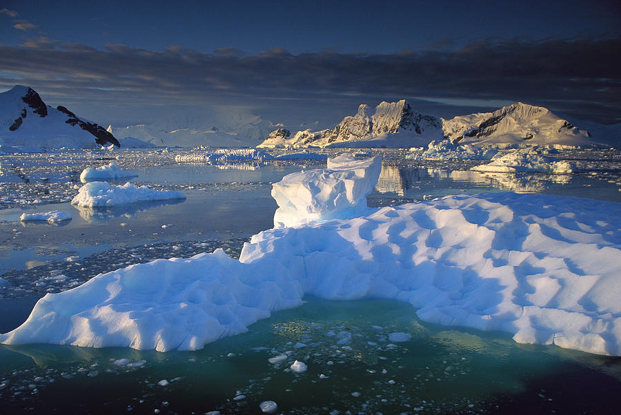 Evening Light On Ice Floes And Peaks Photograph by Colin Monteath