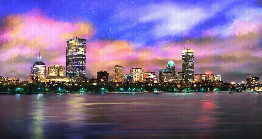 City Painting - Evening Lights by Robert Smith