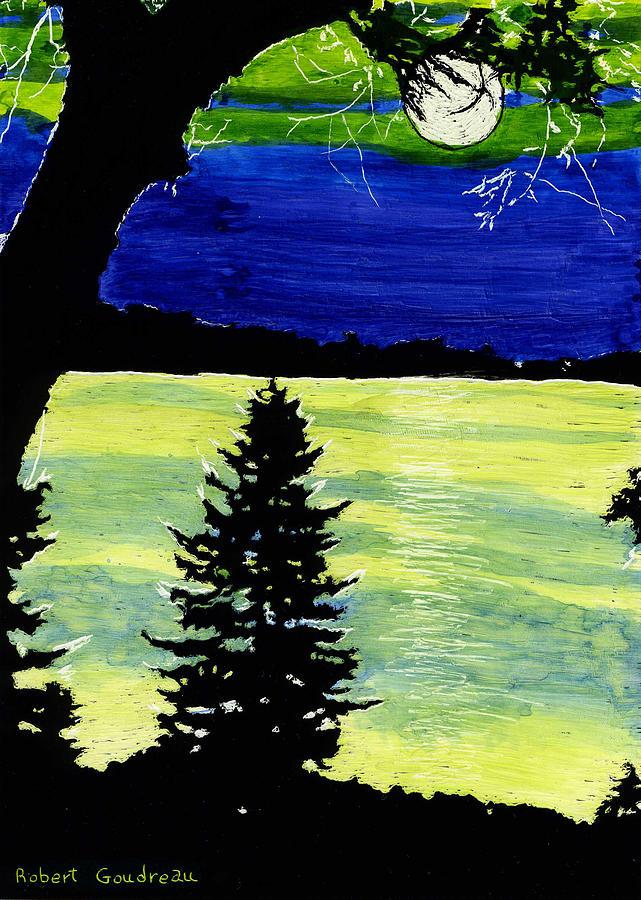 Night Scene Painting - Evening Pine by Robert Goudreau