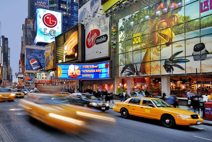 Horizontal Photograph - Evening Traffic At Times Square by Izzet Keribar