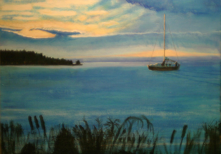 Sailboat Painting - Evensong by Charlie Harris