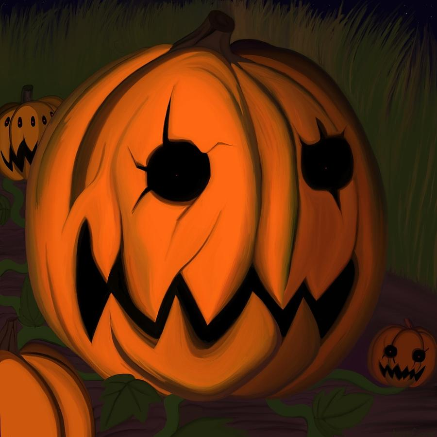 Pumpkin Painting - Evil Pumpkin Vine by Andre Carrion