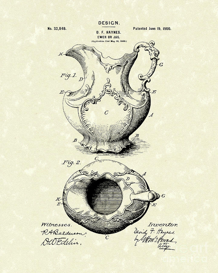 Ewer Drawing - Ewer Or Jug Design 1900 Patent Art by Prior Art Design