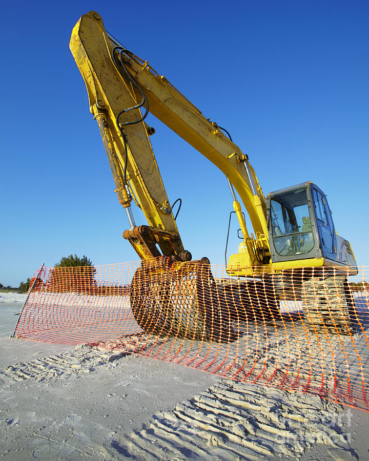 Blue Sky Photograph - Excavator On The Beach by Skip Nall