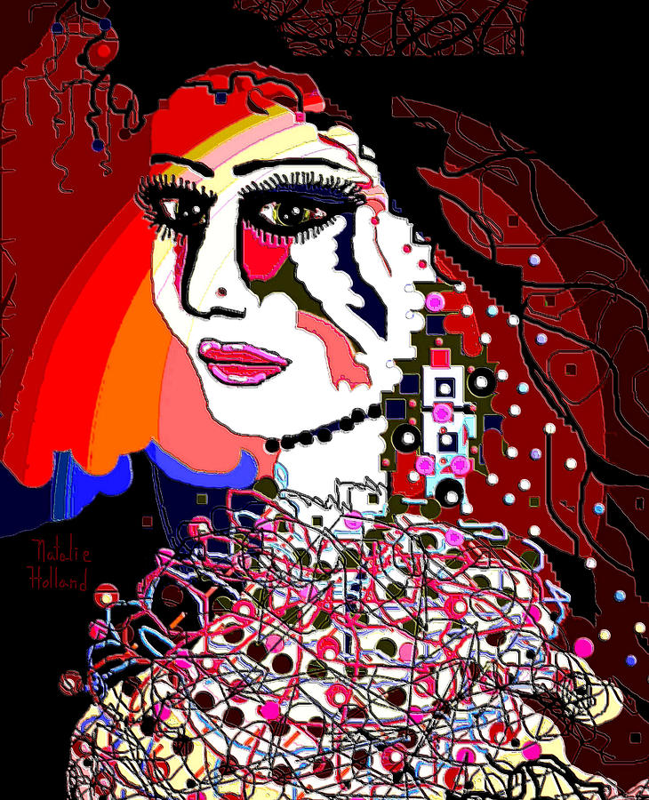 Exotic Bride Woman Marriage Ceremony Portrait Face Celebration Happiness Wedding Music Beautiful Pretty Nose Lips Cheeks Neck White Face Long Earring Large Earring Square Earring Muticolored Beads Silk Threads Dress Wedding Dress Pink Lips Long Lashes Black Hair Texture Wows Relationship Husband Lines Circles Squares Designs Red Cobalt Blue Yellow Orange Pink Olive Green Black Green Burgandy Profile People Natalie Holland Folk Art Expressionism Artwork Creation Paints Brush Strokes Colorful  Mixed Media - Exotic Bride by Natalie Holland