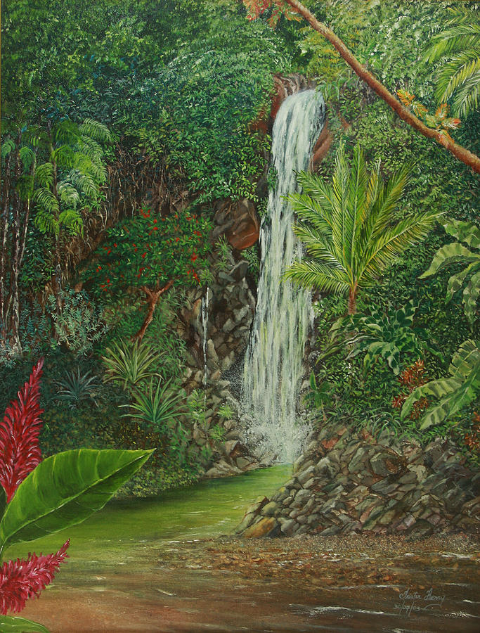 Waterfall Painting - Exotic Daydream by Trister Hosang