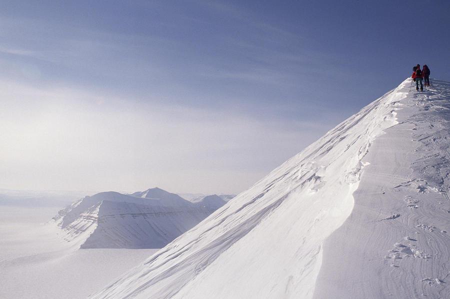 Spitsbergen Photograph - Expedition Skiers Climb Nemtinov Peak by Gordon Wiltsie