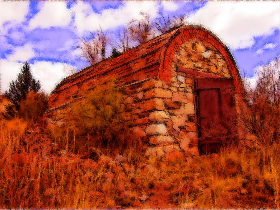 Brick Drawing - Explosives Shed by Howard Perry