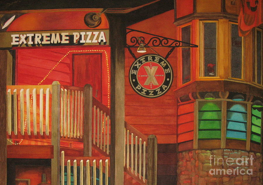 Night Scene Painting - Extreme Pizza by Vikki Wicks