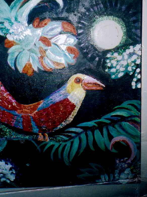 Parrot Painting - Ey Up Me Duck Parrot Painting by Anne-Elizabeth Whiteway