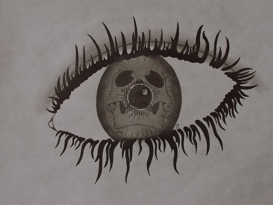 Black Drawing - eye by Gary Southard