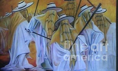 Eyo Masquerades II Painting by David Omotosho