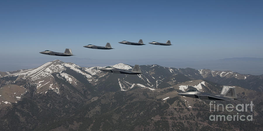 F-22 Raptors Fly In Formation Photograph